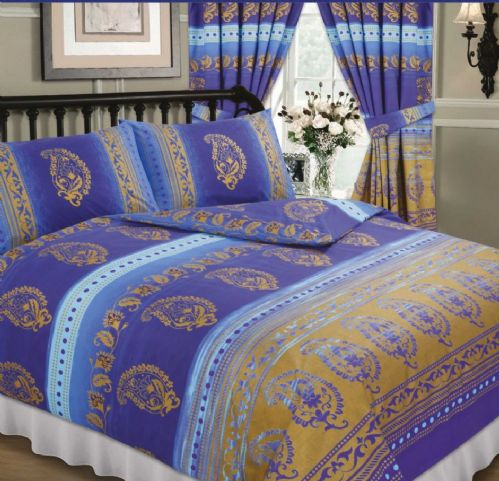 BLUE COLOUR PAISLEY DESIGN REVERSIBLE BEDDING DUVET QUILT COVER SET